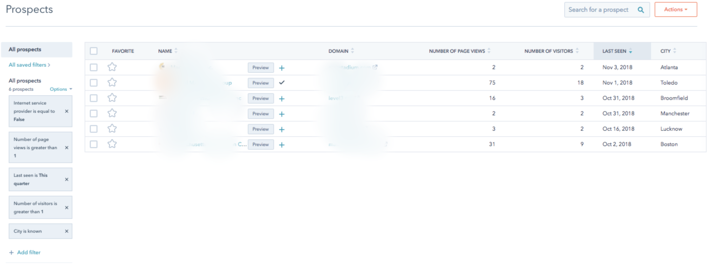 Filters in the HubSpot Prospects Report