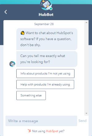 HubSpot Chatbot example