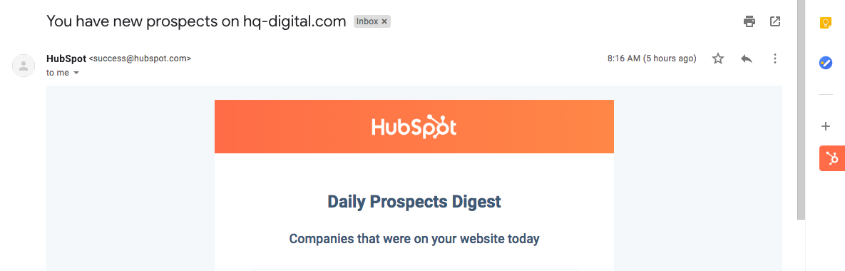 HubSpot Daily Prospects Report